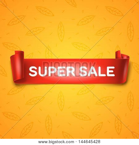 Super Sale inscription on red detailed curved ribbon isolated on yellow leaves background. Curved paper banner. Vector.