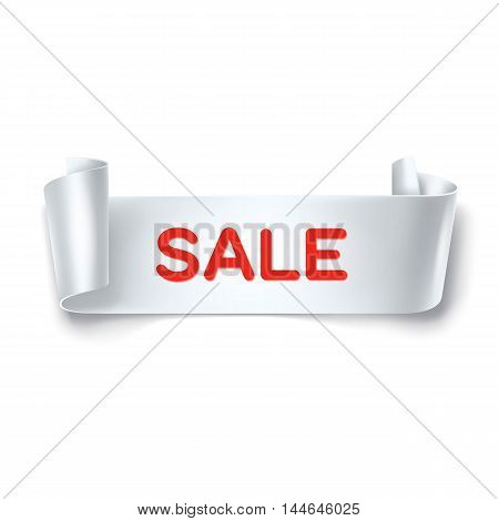 Sale inscription on white detailed curved ribbon isolated on white background. Curved paper banner. Vector.