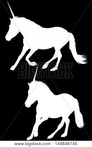 illustration with two unicorn silhouettes isolated on black background