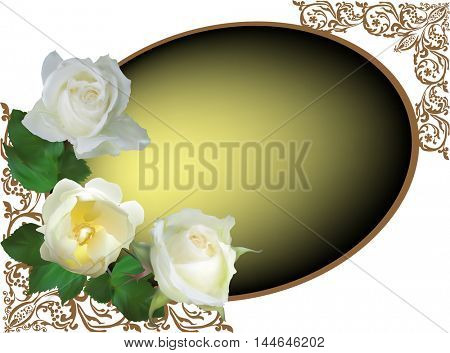 illustration with rose flowers in oval frame