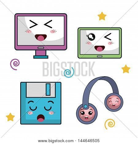 electronic devices characters icon vector illustration design