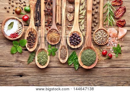 Spices with fresh herbs on a wooden background