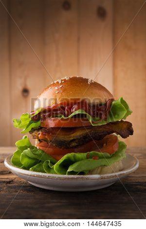 Hamburger. Hamburger on wooden background, Hamburger on Wood table