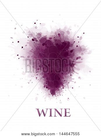 abstract violet wine grape bunch silhouette on white