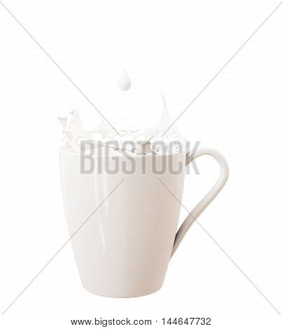 3D droplet and splash of milk in big cup