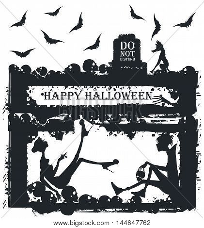 Stylish black and white illustration of vampire and scared women. Woman in horror at the Halloween party with a vampire. Halloween Greeting card.