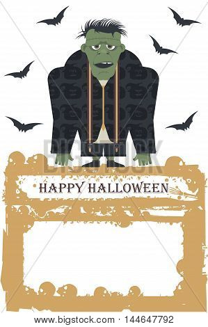 Cartoon Illustration of Spooky Halloween Zombie. Vector image can be used for Halloween greeting card, posters ,banners, invitation and more designs.