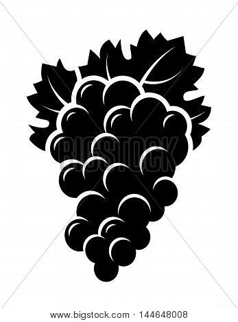 black isolated bunch of grape with leaf