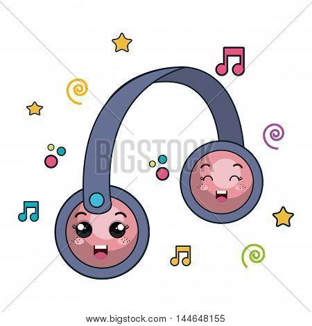 hearphone music character icon vector illustration design