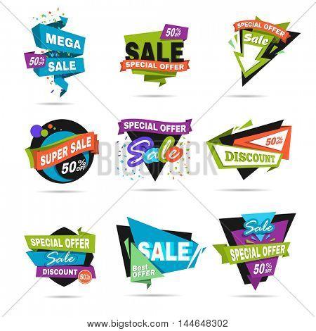 Super sale and discount banner set. Paper cat design. Vector Illustration.