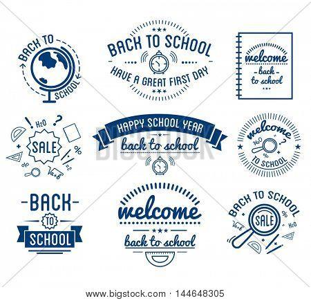 Back to School typography Designs Label Set. Vector Set.