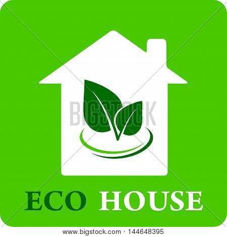 green eco house icon with leaf silhouette