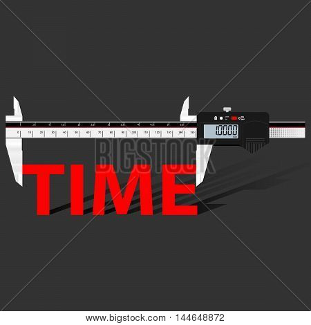 Abstract business background with digital slide gauge and title Time.  Vector.