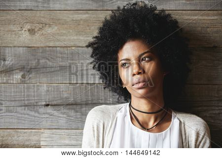 Beauty And Skin Care Concept. Headshot Of Fashionable Dark-skinned Young Woman With Stylish Haircut