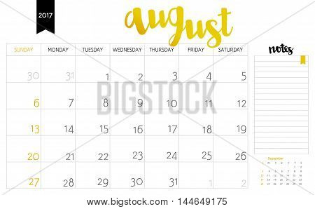 Vector Simple Planning Calendar August 2017 With A Place For Notes. Weeks Start On Sunday. Calligrap