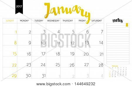 Vector Simple Planning Calendar January 2017 With A Place For Notes. Weeks Start On Sunday. Calligra