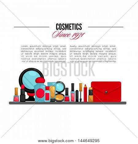 Cosmetics and fashion make up objects: mirror, lipstick, cream, case, brush. Vector Illustration.