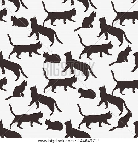 Seamless ornament composed of the repeating contours of a sitting cat. Vector illustration.