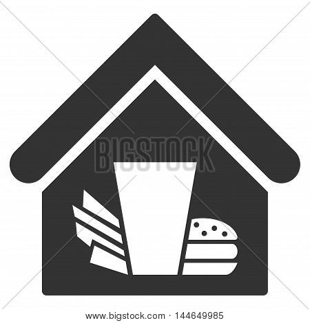 Fastfood Cafe icon. Glyph style is flat iconic symbol, gray color, white background.