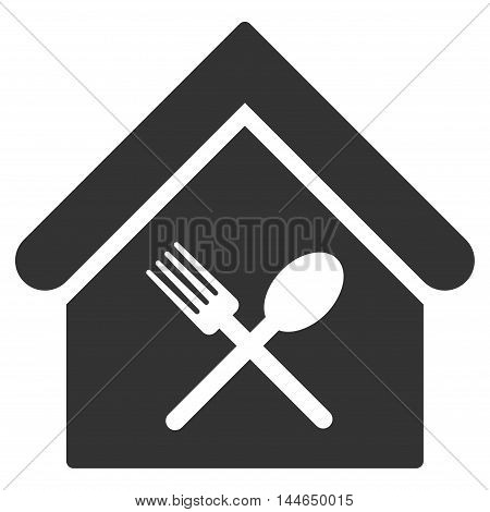 Food Court icon. Glyph style is flat iconic symbol, gray color, white background.