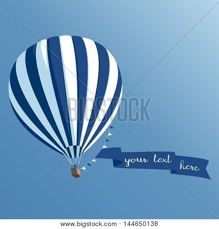 Striped hot air balloon with a banner on a rope floating in the sky balloon with ribbon bottom view