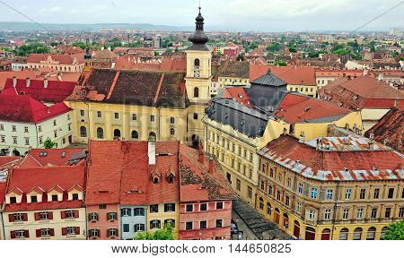 Sibiu old town from above Transylvania Romania