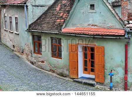 Old houses of Sibiu historical town Transylvania Romania