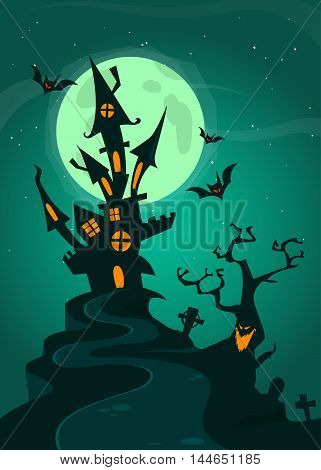 Haunted house on night background with a full moon behind. Vector Halloween background.