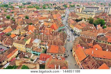 Old roofs of Sibiu city centre Romania