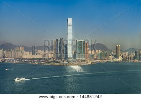 Landscape of Victoria Harbour in Hong Kong, China.