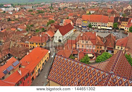 SIBIU ROMANIA - MAY 4: Top view of Sibiu old town Romania on May 4 2016. Sibiu is the city located in Transylvania region of Romania.