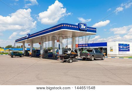 TVER REGION RUSSIA - JUNE 26 2016: TNK gas station. TNK is one of the largest russian oil companies