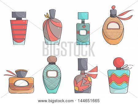 Set of cute, colorful perfume bottles. Stylish, trendy perfumes.