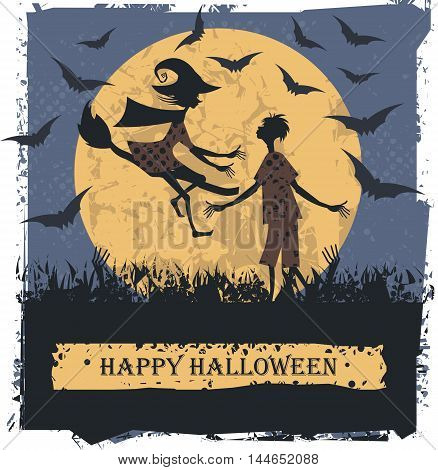 Happy Halloween card with couple lovely silhouettes. Vector image can be used for greeting card ,posters.