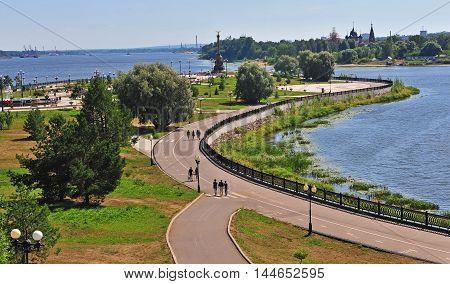 City park of Yaroslavl on Volga river Russia