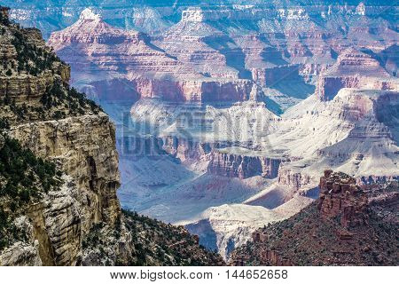 View of the Grand Canyon from the south rim at Grand Canyon National Park