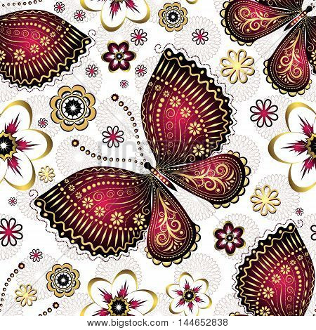 Seamless pattern with gold-purple vintage butterflies and flowers vector