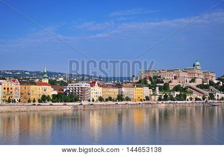 Budapest cityscape morning view of Buda landmarks Hungary