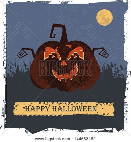 Happy Halloween card with pumpkin head for your designs. Vector image.