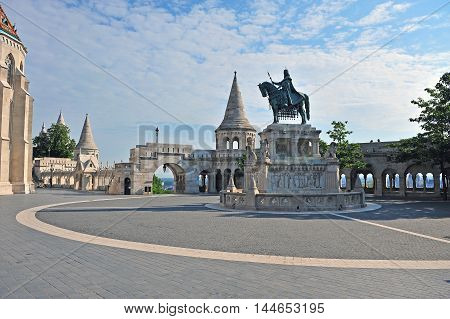 Statue on the square of Fisherman bastion Budapest city Hungary