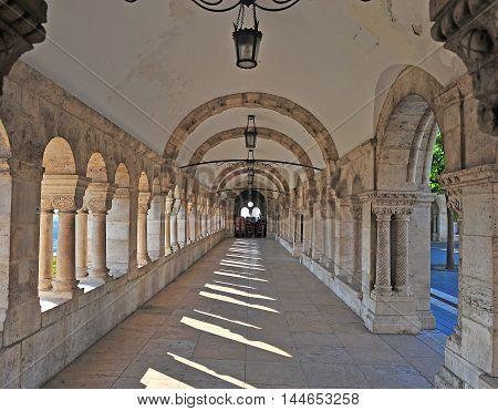 Columns of Fisherman's bastion Budapest city Hungary