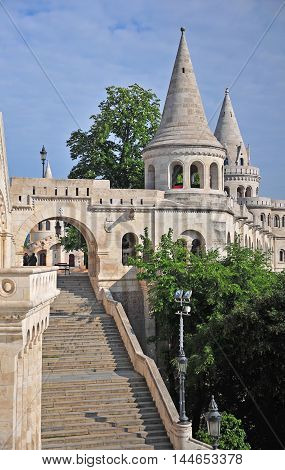 Architectural features of Fisherman's bastion in the heart of Budapest city Hungary