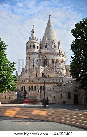 Towers of Fisherman bastion Budapest city Hungary