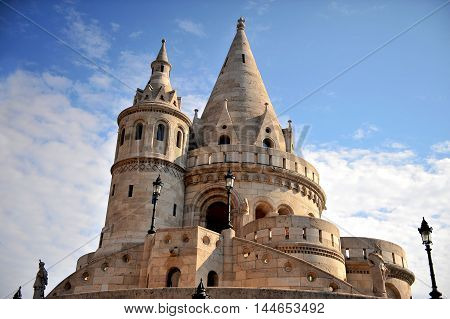 Fisherman's bastion architectural features at sunrise Budapest city