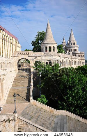 Vertical shot of Fisherman's bastion Budapest Hungary
