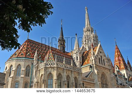 Facade of St Mattew church Buda town Hungary
