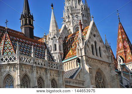 Details of Saint Matthew church in Budapest city Hungary
