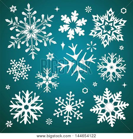 White snowflakes icon on gradient background green and white colorful. Collection graphic art for your design Merry Christmas and Happy New Year.