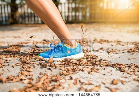 Woman jogging in a city