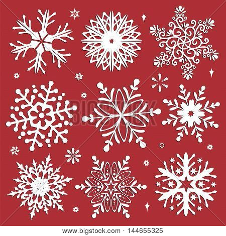 White snowflakes icon on red background. Collection graphic art for your design Merry Christmas and Happy New Year
